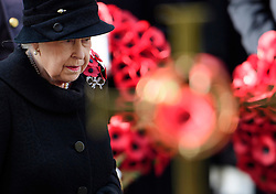 © Licensed to London News Pictures. 13/11/2016. London, UK.  HRH QUEEN ELIZABETH II attends a Remembrance Day Ceremony at the Cenotaph war memorial in London, United Kingdom, on November 13, 2016 . Thousands of people honour the war dead by gathering at the iconic memorial to lay wreaths and observe two minutes silence. Photo credit: Ben Cawthra/LNP