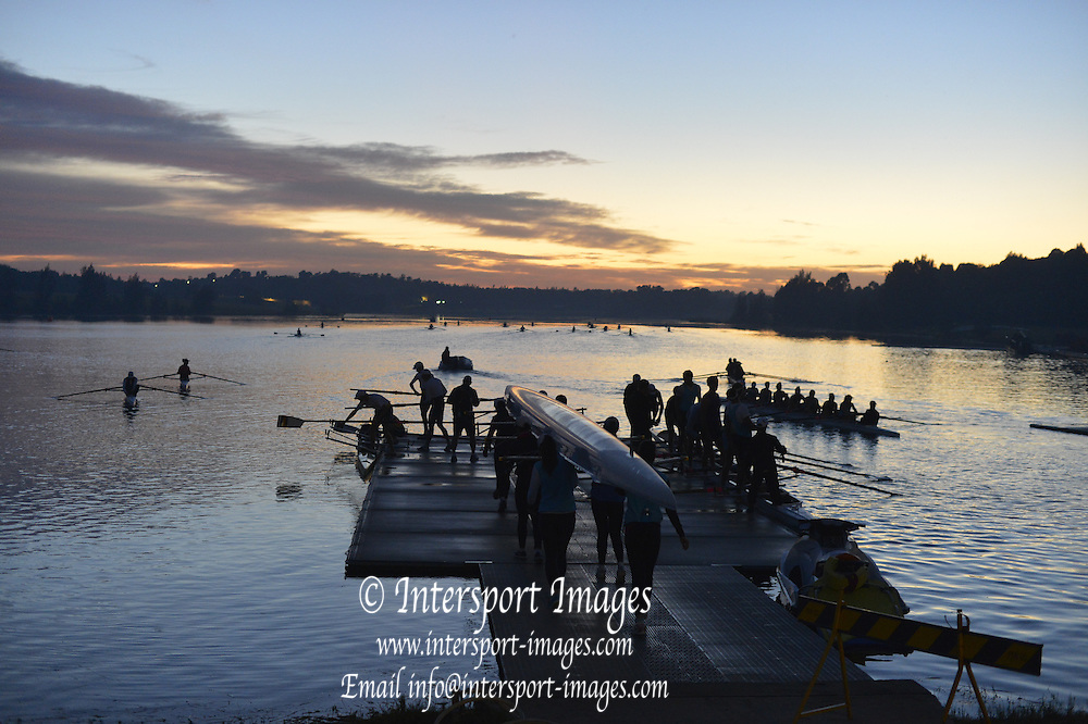 Sydney, Australia.  Sunrise, Boating Area, FISA World Cup I. and the Sydney International Rowing Regatta. Sydney International Rowing Centre, Penrith Lakes, NSW.   Friday   22/03/2013 [Mandatory Credit. Peter Spurrier/Intersport Images]..
