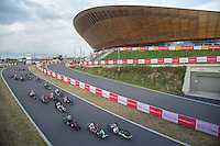 LONDON UK 29TH JULY 2016:   Passing the Velodrome. Prudential RideLondon Elite Handcycle Grand Prix at the London Velo Park. Prudential RideLondon in London 29th July 2016<br />