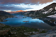 Garnet Lake at sunset. High Sierra backpacking trip to Garnet Lake and Nydiver Lake in the Ansel Adams Wilderness out of Devil's Postpile national monument 2017.