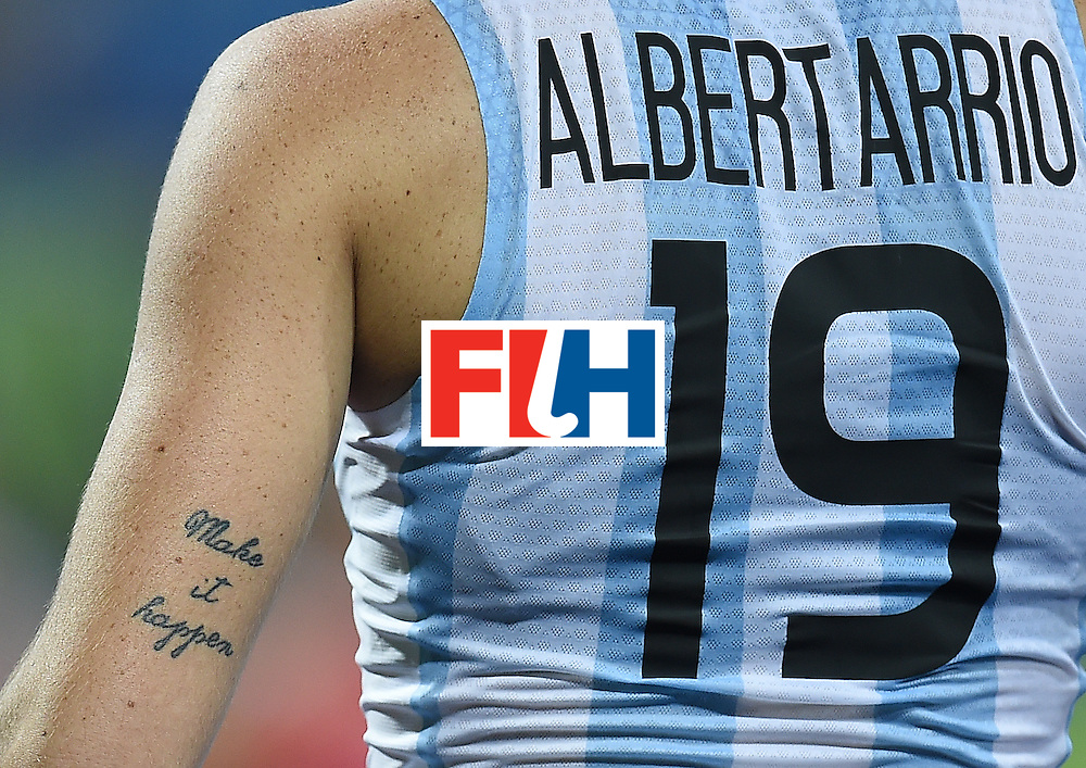 A tatoo is seen on Argentina's Agustina Albertarrio during the women's field hockey Argentina vs USA match of the Rio 2016 Olympics Games at the Olympic Hockey Centre in Rio de Janeiro on August, 6 2016. / AFP / MANAN VATSYAYANA        (Photo credit should read MANAN VATSYAYANA/AFP/Getty Images)