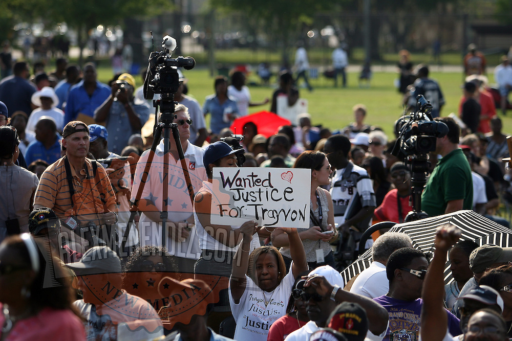 A supporter holds a sign up during a rally for the shooting of Trayvon Martin on Thursday,March 22, 2012 at Fort Mellon Park in Sanford, Florida. (AP Photo/Alex Menendez) Trayvon Martin rally in Sanford, Florida.
