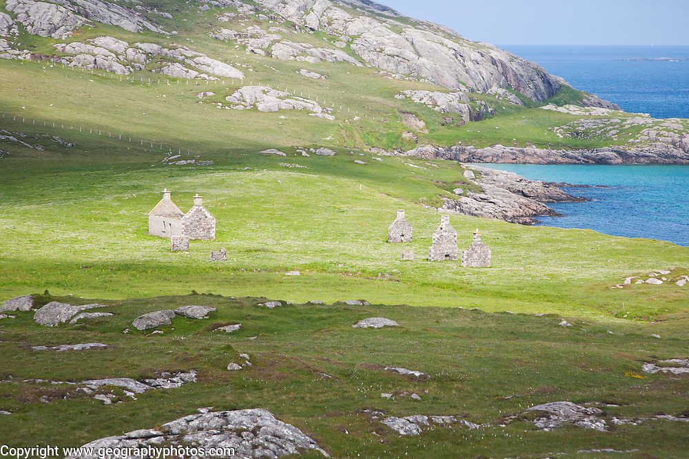 Abandoned croft houses in deserted village, Eorasdail, Vatersay Island, Barra, Outer Hebrides, Scotland, UK