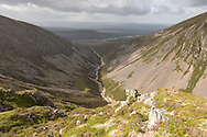 View looking into Coire Garbhlach, Glenfeshie, Cairngorms National Park, Scotland.