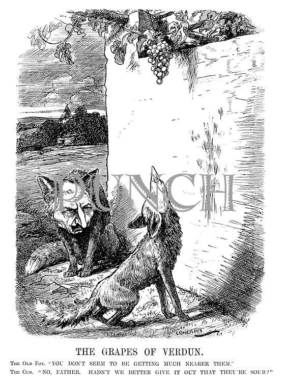 """The Grapes of Verdun. The old fox. """"You don't seem to be getting much nearer them."""" The cub. """"No, father. Hadn't we better give it out that they're sour?"""" (a WW1 cartoon showing German propaganda in the aftermath of the battle of Verdun as Wilhelm II and his son Crown Prince Wilhelm as foxes, fail to reach their grapes)"""