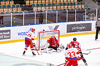2020-01-19 | Umeå, Sweden:Teg (30) Joakim Andersson taking care of the puck in AllEttan during the game  between Teg and Vallentuna at A3 Arena ( Photo by: Michael Lundström | Swe Press Photo )<br /> <br /> Keywords: Umeå, Hockey, AllEttan, A3 Arena, Teg, Vallentuna, mltv200119