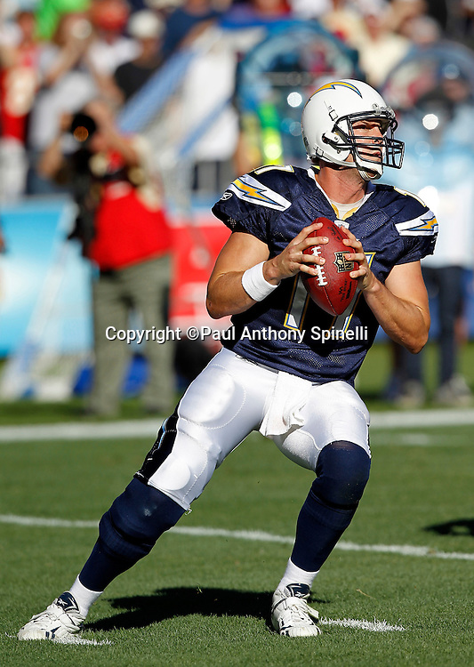 San Diego Chargers quarterback Philip Rivers (17) drops back to pass during the NFL week 14 football game against the Kansas City Chiefs on Sunday, December 12, 2010 in San Diego, California. The Chargers won the game 31-0. (©Paul Anthony Spinelli)