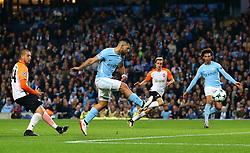Sergio Aguero of Manchester City fires a shot at goal  - Mandatory by-line: Matt McNulty/JMP - 26/09/2017 - FOOTBALL - Etihad Stadium - Manchester, England - Manchester City v Shakhtar Donetsk - UEFA Champions League Group stage - Group F