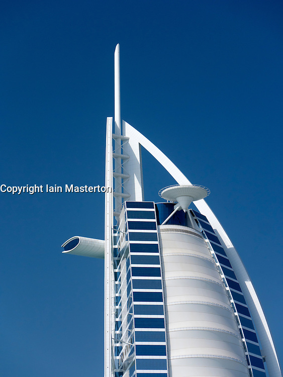 View of Burj al Arab hotel in Dubai in United Arab Emirates