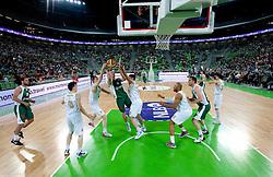 Edo Muric of Krka between Davis Bertans and Goran Jagodnik of Union Olimpija during second semi-final match of Basketball NLB League at Final four tournament between KK Union Olimpija and Krka (SLO), on April 19, 2011 in Arena Stozice, Ljubljana, Slovenia. (Photo By Vid Ponikvar / Sportida.com)