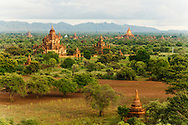 Pagodas scattered at the plains of Bagan