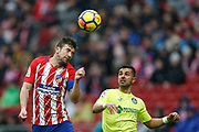 Atletico Madrid's Spanish midfielder Gabi heads the ball during the Spanish Championship Liga football match between Atletico Madrid and Getafe on January 6, 2018 at the Wanda Metropolitano stadium in Madrid, Spain - Photo Benjamin Cremel / ProSportsImages / DPPI