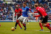 Rangers James Tavernier (C) during the Ladbrokes Scottish Premiership match between Rangers and Kilmarnock at Ibrox, Glasgow, Scotland on 16 March 2019.