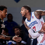 Delaware 87ers Guard DAVON USHER (7) keeps the ball away from defender Erie BayHawks Guard KEITH APPLING (3) in the first half of a NBA D-league regular season basketball game between the Delaware 87ers and the Erie BayHawks Tuesday, Mar. 29, 2016, at The Bob Carpenter Sports Convocation Center in Newark, DEL.