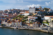 The historic river front of the Ribeira region of Porto, Portugal