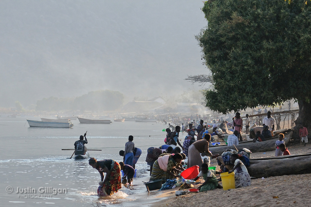 Lakeshore community at Cape Maclear, Lake Malawi, Malawi.