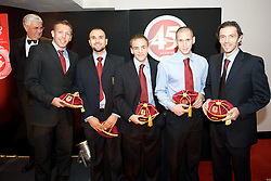 CARDIFF, WALES - Tuesday, October 7, 2008: Wales' players recieve their caps at the Brains Beer Wales Football Awards at the Millennium Stadium. L-R: Craig Bellamy, Carl Fletcher, David Vaughan, Andrew Crofts, Simon Davies. (Photo by David Rawcliffe/Propaganda)