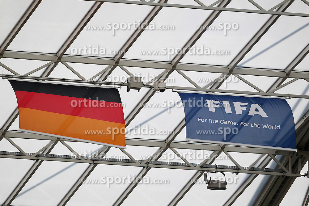28.06.2011, FIFA Frauen-WM-Stadion Leverkusen, Leverkusen, GER, FIFA Women Worldcup 2011, Gruppe C, Kolumbien (COL) vs. Schweden (SWE), im Bild:  Deutschland Fahne und FIFA Fahne   // during the FIFA Women´s Worldcup 2011, Pool C, Colombia vs Sweden on 2011/06/28, FIFA Frauen-WM-Stadion Leverkusen, Leverkusen, Germany.   EXPA Pictures © 2011, PhotoCredit: EXPA/ nph/  Mueller *** Local Caption ***       ****** out of GER / CRO  / BEL ******