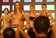 NANJING, CHINA - AUGUST 06: (CHINA OUT) <br /> <br /> Underwear Made By Pure Gold<br /> <br /> A model wearing an underwear made by pure gold stands on the stage during a fashion show on August 6, 2014 in Nanjing, Jiangsu province of China. Golden underwear wore by a model worth over a million RMB (about 0.16 million USD) on Wednesday.<br /> ©Exclusivepix