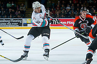 KELOWNA, CANADA - JANUARY 23: Nick Merkley #10 of Kelowna Rockets passes the puck against the Medicine Hat Tigers on January 23, 2016 at Prospera Place in Kelowna, British Columbia, Canada.  (Photo by Marissa Baecker/Shoot the Breeze)  *** Local Caption *** Nick Merkley;