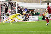 Portsmouth goal keeper Paul Jones makes a save during the Sky Bet League 2 match between Northampton Town and Portsmouth at Sixfields Stadium, Northampton, England on 19 December 2015. Photo by Dennis Goodwin.