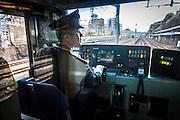 JAPAN, TOKYO, FEBRUARY 2013 -  The conductor pof the JR yamanote line  [FR] Le conducteur du train de la Ligne Yamanote entre Meguro et Shibuya