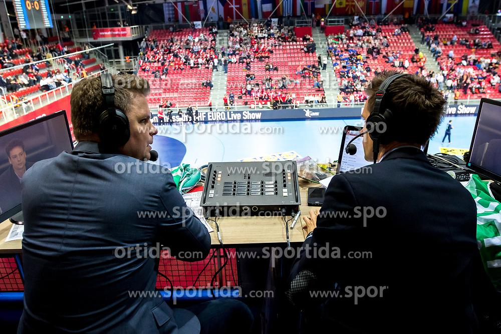 "12.05.2017, Zatika Sport Centre, Porec, CRO, EHF EM, Herren, Österreich vs Norwegen, Gruppe B, im Bild v.l. Konrad ""Conny"" Wilczynski, Johannes Hahn // during the preliminary round, group B match of the EHF men's Handball European Championship between Austria and Norway at the Zatika Sport Centre in Porec, Croatia on 2017/05/12. EXPA Pictures © 2018, PhotoCredit: EXPA/ Sebastian Pucher"