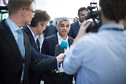 © Licensed to London News Pictures . 27/09/2016 . Liverpool , UK . London mayor SADIQ KHAN being interviewed by media at the ACC conference centre on the third day of the Labour Party Conference at the ACC in Liverpool . Photo credit : Joel Goodman/LNP