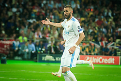 Karim Benzema of Real Madrid reacts during the UEFA Champions League final football match between Liverpool and Real Madrid at the Olympic Stadium in Kiev, Ukraine on May 26, 2018.Photo by Sandi Fiser / Sportida