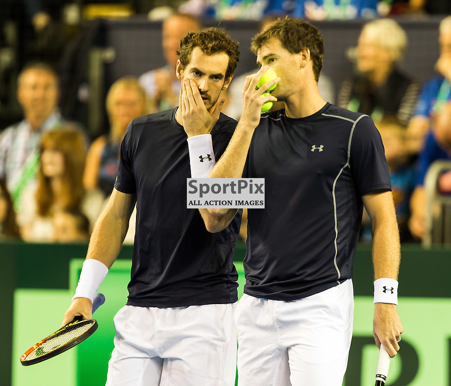 Andy Murray and Jamie Murray in discussions during the Davis Cup Semi-final between Great Britian and Australia (c) ROSS EAGLESHAM | Sportpix.co.uk
