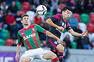Portugal, FUNCHAL : Maritimo's Portuguese midfielder Fernando Fereira(L )  vies with Benfica's Argentinian midfielder Nico Gaitá   (R ) during Portuguese League football match Maritimo vs S.L. Benfica at Barreiros Stadium in Funchal on January  18, 2015.PHOTO/ GREGORIO CUNHA