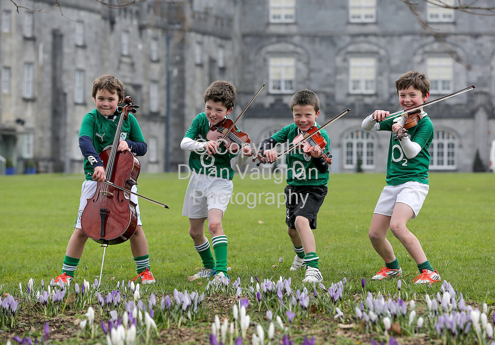 "Repro Free no charge For Repro..21/2/2013.The first all male quartet to enter the Kilkenny Music Festival Chamber Music Competition for Primary Schools pictured in Kilkenny..The group who call themselves ""The Little Rascals"" are all avid rugby fans as well as young musicians...Pictured from left are the "" The Little Rascals"" from St Canices Co-Ed National School in Kilkenny Harry Shine aged 8 on the cello, Mikey Raggett aged 8 on the viola, Sean Cullen aged 8 on the violin and Sean Keenan aged 8 on the Violin...The festival runs from March the 6th to March the 10th in Kilkenny City...Picture Dylan Vaughan.. ..For further information contact Gina O'Leary on 086 378 2252......"