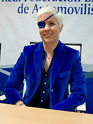 Former formula one Marussia test driver Spanish Maria de Villota gives a press conference in Madrid, Spain, October 11, 2012. De Villota, 32, lost her right eye and suffered severe head injuries after crashing while conducting a straight line test at an airfield base in Cambridgeshire, on July 3, 2012. Photo by Oscar Gonzalez / i-Images...SPAIN OUT.UK ONLY<br />