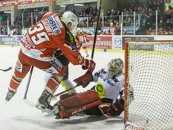 14.12.2014, Stadthalle, Klagenfurt, AUT, EBEL, EC KAC vs Dornbirner Eishockey Club, 27. Runde, im Bild Jean-Francoir Jacques (EC KAC, #39), Nathan Lawson (Dornbirner Eishockey Club, #52), Olivier Magnan (Dornbirner Eishockey Club, #2) // during the Erste Bank Icehockey League 27th round match betweeen EC KAC and Dornbirner Eishockey Club at the City Hall in Klagenfurt, Austria on 2014/12/14. EXPA Pictures © 2014, PhotoCredit: EXPA/ Gert Steinthaler