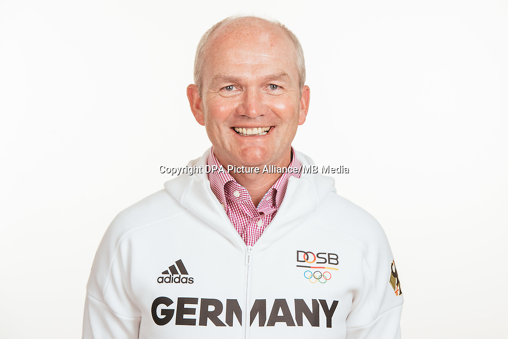 Hubertus Schmidt poses at a photocall during the preparations for the Olympic Games in Rio at the Emmich Cambrai Barracks in Hanover, Germany, taken on 18/07/16 | usage worldwide