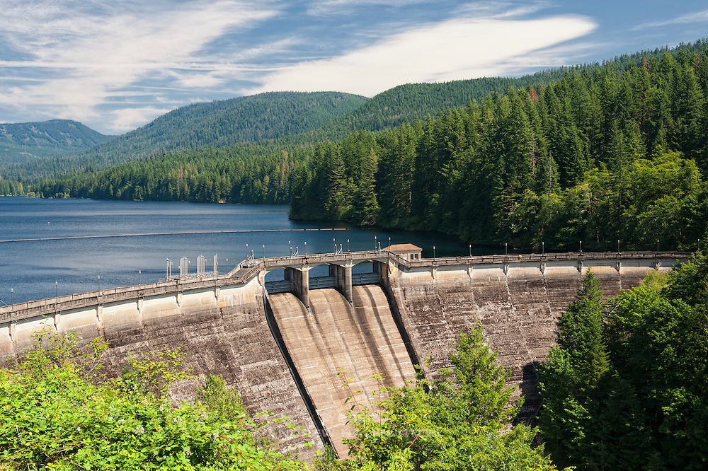 Dam 1, a curved concrete gravity dam, constructed 1925-1929, in the 102-square-mile Bull Run watershed near Mount Hood, has a maximum reservoir capacity of 10 billion gallons, making it the primary contributor to the Portland Water System Distribution Area.