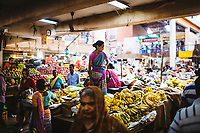 Fruit and vegetable sellers at the local market in downtown Panjim, India.
