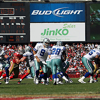 Dallas Cowboys quarterback Tony Romo (9) and Dallas Cowboys running back Felix Jones (28) during an NFL football game between the Dallas Cowboys and the San Francisco 49ers at Candlestick Park on Sunday, Sept. 18, 2011 in San Francisco, CA.  (Photo/Alex Menendez)