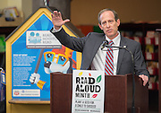 Houston ISD Trustee Greg Meyers comments during a news conference at Walnut Bend Elementary School launching Read Aloud Month, March 1, 2016.