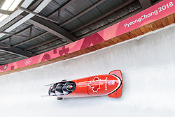 25.02.2018, Olympic Sliding Centre, Pyeongchang, KOR, PyeongChang 2018, 4er Bob, Herren, 3. Lauf, im Bild Justin Kripps, Jesse Lumsden, Alexander Kopacz, Oluseyi Smith (CAN) // Justin Kripps Jesse Lumsden Alexander Kopacz Oluseyi Smith (CAN) during the men's 4-man bob heat 3 for the Pyeongchang 2018 Winter Olympic Games at the Olympic Sliding Centre in Pyeongchang, South Korea on 2018/02/25. EXPA Pictures © 2018, PhotoCredit: EXPA/ Johann Groder