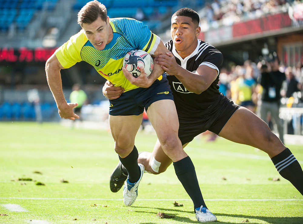 Australia play New Zealand in the Cup Quarter Finals of the Silicon Valley Sevens in San Jose, California. November 4, 2017. <br /> <br /> By Jack Megaw.<br /> <br /> <br /> <br /> www.jackmegaw.com<br /> <br /> jack@jackmegaw.com<br /> @jackmegawphoto<br /> [US] +1 610.764.3094<br /> [UK] +44 07481 764811
