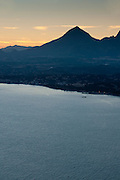 Puig Campana mountain at sunset from Morro de Toix point, Alicante province,Costa Blanca, Spain