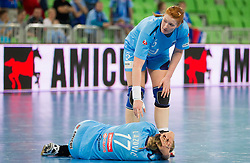 Barbara Varlec Lazovic and Lina Krhlikar of Slovenia during handball match between Women National Teams of Slovenia and Czech Republic of 4th Round of EURO 2012 Qualifications, on March 25, 2012, in Arena Stozice, Ljubljana, Slovenia. (Photo by Vid Ponikvar / Sportida.com)