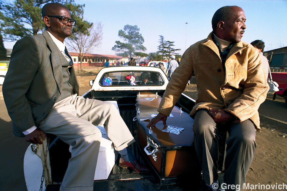 Boipatong, Vaal Triangle, Transvaal, South Africa. Family members on their way to the mass funeral of 41 people killed by Zulus in the Boipatong Massacre, 1992.