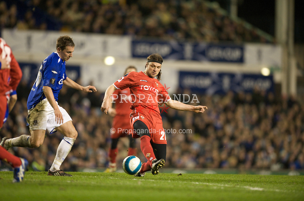 LIVERPOOL, ENGLAND - Wednesday, March 12, 2008: Everton's Philip Jagielka and ACF Fiorentina's Tomas Ujfalusi during the UEFA Cup Round of 16 match at Goodison Park. (Photo by David Rawcliffe/Propaganda)