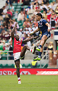 Twickenham, Surrey United Kingdom. Right USA's, Maka UNUFE, jumping for the high ball during the Pool A game USA vs Kenya, at the  &quot;2017 HSBC London Rugby Sevens&quot;,  Saturday 20/05/2017 RFU. Twickenham Stadium, England    <br /> <br /> [Mandatory Credit Peter SPURRIER/Intersport Images]