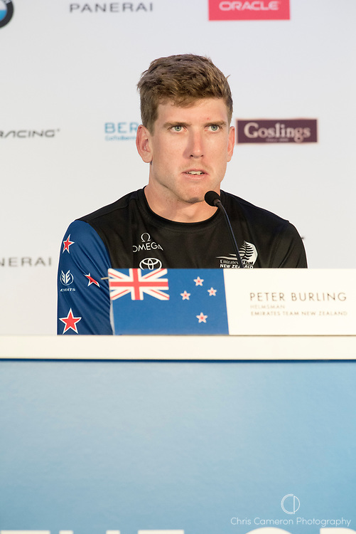 The America's Cup Village, Ireland Island, Bermuda, 17th June. Emirates Team New Zealand Helmsman Peter Burling (NZL) at the post race press conference after winning the first two races of the America's Cup against defender Oracle Team USA.