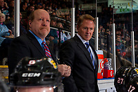 KELOWNA, BC - OCTOBER 20: Portland Winterhawks'  assistant coach Danny Flynn and head coach Mike Johnston stand on the bench at the Kelowna Rockets  at Prospera Place on October 20, 2017 in Kelowna, Canada. (Photo by Marissa Baecker/Getty Images)