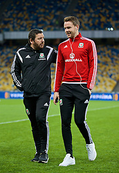 KIEV, UKRAINE - Easter Monday, March 28, 2016: Wales' equipment manager David Griffiths and Chris Gunter before the International Friendly match against Ukraine at the NSK Olimpiyskyi Stadium. (Pic by David Rawcliffe/Propaganda)
