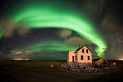 Encircled by Aurora Borealis, Abandoned farm Hólmur in Reykjanes, west Iceland